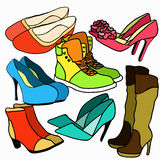Set of colored women's shoes. vector illustration Royalty Free Stock Photos