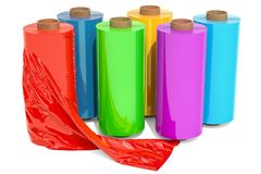 Set of colored wrapping plastic stretch films, 3D rendering. Roll of wrapping plastic stretch film, 3D rendering isolated on white background Royalty Free Stock Image