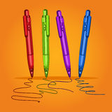 Set colored writing pens for school, business and study. Handles for learning, letter, line, stroke. Vector illustration. Set colored writing pens for school Royalty Free Stock Photo