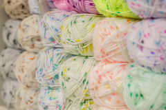 A set of colored yarn. A set of skeins of colored yarn stock photos