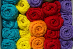 A set of colored yarn. A set of skeins of colored yarn royalty free stock photo