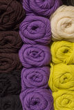 A set of colored yarn. A set of skeins of colored yarn Stock Image