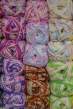 A set of colored yarn. A set of skeins of colored yarn royalty free stock images