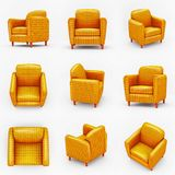 Set of colored yellow armchairs on white background. Collection types seating in 3d style , rendering . Isolated illustration art Stock Photography