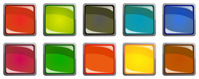 Set of colorful 3d buttons. Isolated over white Stock Image