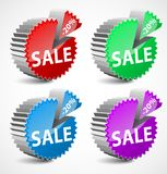 Set of colorful 3d vector sale labels. Stock Photography