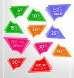 Set of colorful abstract angular sale stickers, labels, tags stock illustration