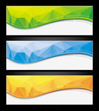 Set of colorful abstract banners. Colorful abstract polygonal banners, backgrounds, templates. Additional format - Adobe Illustrator 10, CMYK Royalty Free Stock Images