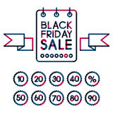 Set of colorful abstract black friday sale labels, from 10 to 90. Percent. Vector illustration stock illustration