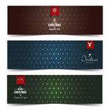 Set of colorful abstract Christmas, New Year banners Royalty Free Stock Photos