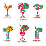 Set of colorful abstract cocktail logos Royalty Free Stock Image