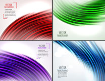 Set of 4 colorful abstract curve backgrounds. Vector illustration Stock Image