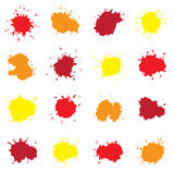 Set of Colorful Abstract Drops. Isolated on White Royalty Free Stock Photography
