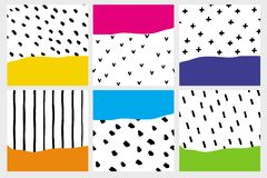 Set of 6 Colorful Abstract Geometric Illustrations. Hand Drawn Brushed Dots, Stripes, Lines . stock illustration