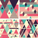 Abstract geometric seamless patterns on light background. Set 2. Set of colorful abstract geometric seamless patterns with overlapping shapes Royalty Free Stock Photography