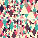 Abstract geometric seamless patterns on light background. Set 1. Set of colorful abstract geometric seamless patterns with overlapping shapes Royalty Free Stock Images