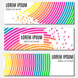 Set of colorful abstract header banners with curved lines, flying pieces Royalty Free Stock Image