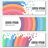 Set of colorful abstract header banners with curved lines and flying pieces. Royalty Free Stock Photography
