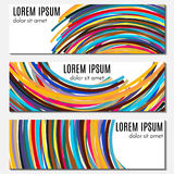 Set of colorful abstract header banners with curved lines and place for text. Vector backgrounds for web design Stock Photos