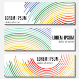 Set of colorful abstract header banners with curved lines and place for text. Vector backgrounds for web design Stock Photo
