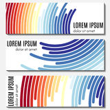 Set of colorful abstract header banners with curved lines and place for text. Vector backgrounds for web design Royalty Free Stock Photo