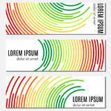 Set of colorful abstract header banners with curved lines and place for text. Vector backgrounds for web design Royalty Free Stock Image