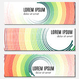 Set of colorful abstract header banners with curved lines and place for text. Stock Images