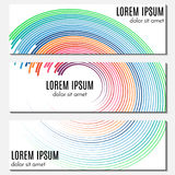 Set of colorful abstract header banners with curved lines and place for text. Stock Photography