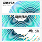 Set of colorful abstract header banners with curved lines and place for text. Stock Photos