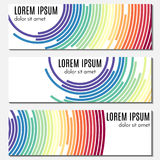 Set of colorful abstract header banners with curved lines and place for text. Vector backgrounds for web design royalty free illustration