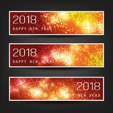 Set of Colorful Abstract Horizontal New Year Headers or Banners for Year 2018. Best Wishes - Set of Three Colorful Sparkling, Shimmering New Year`s Header Stock Photos