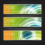 Set of Colorful Abstract Horizontal New Year Headers Banners for Year 2018 Royalty Free Stock Image