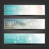 Set of Colorful Abstract Horizontal New Year Headers Banners for Year 2018 - Vector Design Royalty Free Stock Image