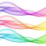 Set of Colorful Abstract Isolated Transparent Wave Lines. For White Background. Smooth Wavy Horizontal Gradient Curved Lines stock illustration