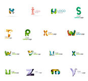 Set of colorful abstract letter corporate logos. Made of overlapping flowing shapes. Universal business icons for any idea or concept. Business, app, web design Royalty Free Stock Photo