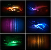 Set of colorful abstract neon backgrounds. Stock Photo