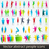 Set of colorful abstract people silhouettes Stock Images