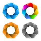 Set of Colorful Abstract Polygon icons. Stock Images