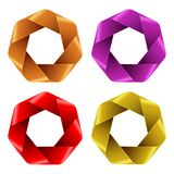 Set of Colorful Abstract Polygon icons. Royalty Free Stock Images