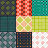 Set of colorful abstract quilted patterns. Royalty Free Stock Photo