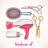 Set with colorful accessories hairdressing. Hand-drawn illustration stock illustration