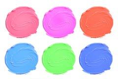 Set of colorful acrylic blots isolate on white. Stock Photo
