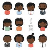 Set of colorful African-American people icons. Businessman. Businesswoman. Cartoon hand drawn blacks faces sketch for your design. Collection of cute avatar Stock Images