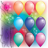 Set of colorful air balloons with threads. And glitter Stock Photo