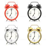 Set of 4 colorful alarm clocks. Set of 4 alarm clocks isolated on white background. Vintage style red, black, silver, golden clock. Graphic design element for Stock Photo