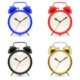 Set of 4 colorful alarm clocks. Set of 4 alarm clocks isolated on white background. Vintage style red, blue, black, golden clock. Graphic design element for Royalty Free Stock Photography