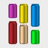 Set of colorful aliminum drink cans isolated on transparent background. Vector illustration. royalty free illustration