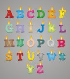 Set of colorful alphabet candle. Suitable for user interface Royalty Free Stock Images