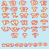 Set of colorful alphabet and numbers. Royalty Free Stock Photos