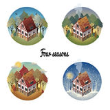 Set of colorful antique European home. Spring, summer, winter, autumn. European countryside. Fpur seasons. Vector illustration of a flat style vector illustration